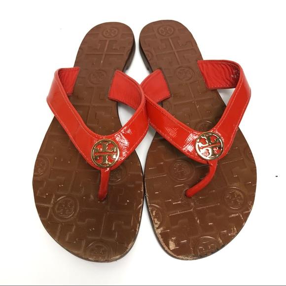 5ee436334c51 Tory Burch Red Patent Monroe Thong Sandal. M 5b3846dc0cb5aaf3ece38a7d